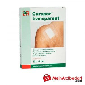 The Curapor surgical wound dressing is transparent and is used to treat postoperative wounds and accidental injuries.