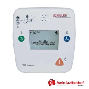 The Schiller FRED easyport defilibrator is a very small defibrillator with a compact size.
