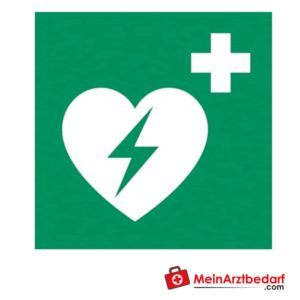 The sign of automated external defibrillator AED helps to find the defibrillator as soon as possible in the event of a cardiac arrest.